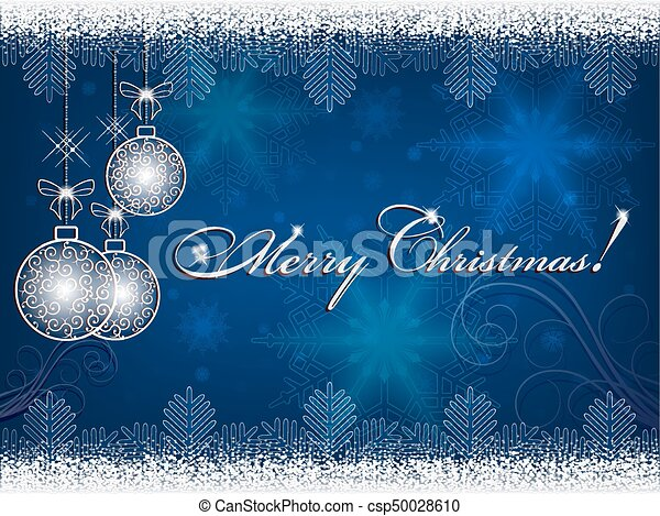 Blue background with christmas balls - csp50028610