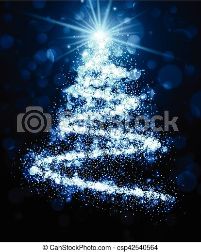 Blue background with Christmas tree. - csp42540564