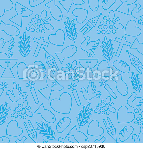 blue background with communion icon - csp20715930