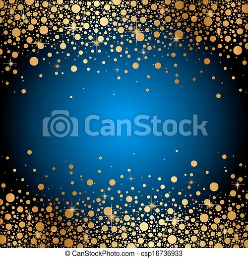 blue background with gold sparkles - csp16736933