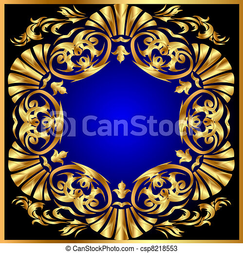 blue background with gold(en) ornament on circle - csp8218553