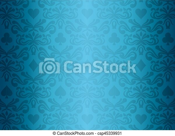 Blue background with poker symbols surrounded by floral ornament pattern - csp45339931
