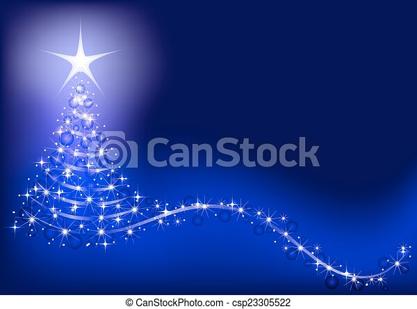 Blue background with shiny Christmas tree. - csp23305522