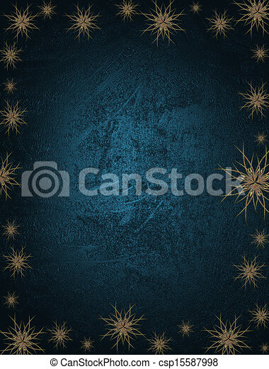 Blue Background with snowflakes on the edges and gold name plate for writing. Template for Christmas background. - csp15587998