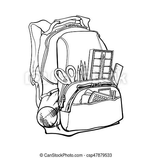 Blue Backpack Packed With School Items Supplies Stationary Objects