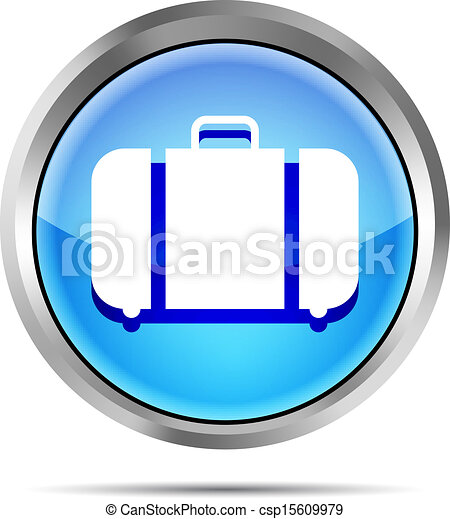 blue baggage icon on a white backgr - csp15609979