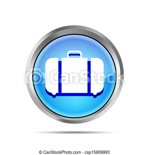 blue baggage icon on a white background - csp15609993