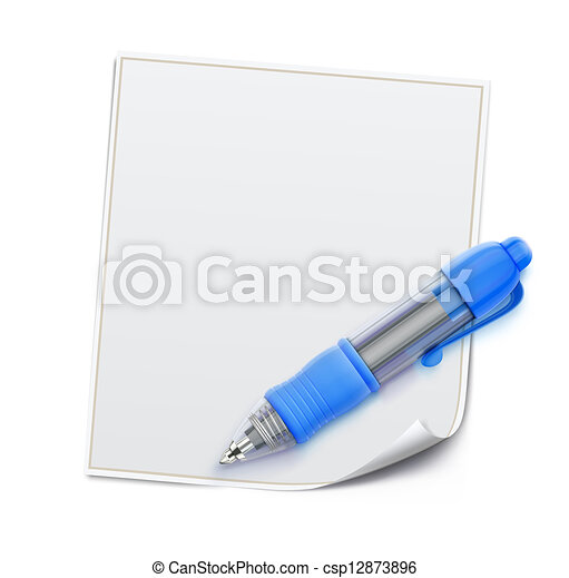 Blue ballpoint pen  - csp12873896