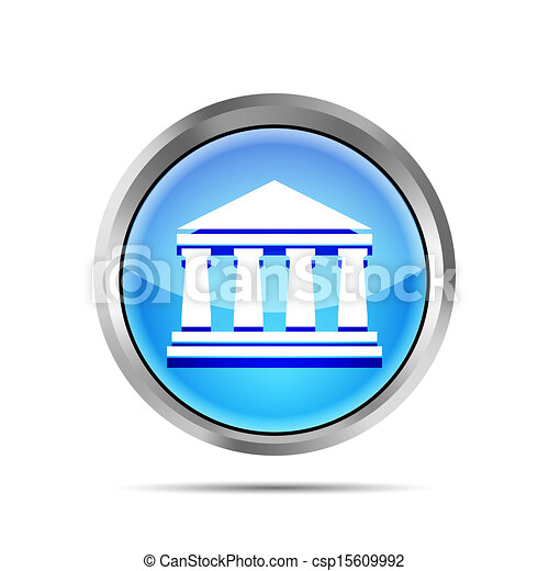 blue bank icon on a white background - csp15609992