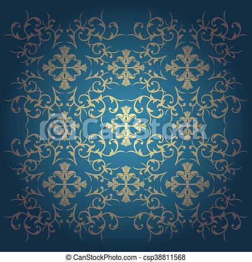 Blue baroque background vector - csp38811568