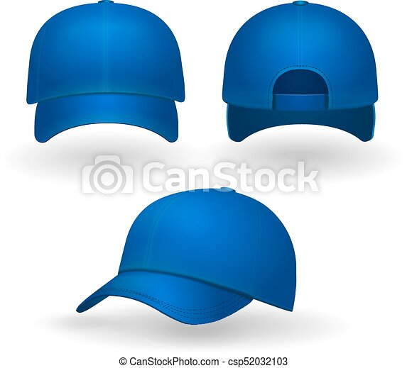 428b605b70fc5 Blue baseball cap set front side view isolated