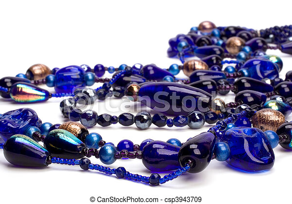 blue beads isolated on white background - csp3943709