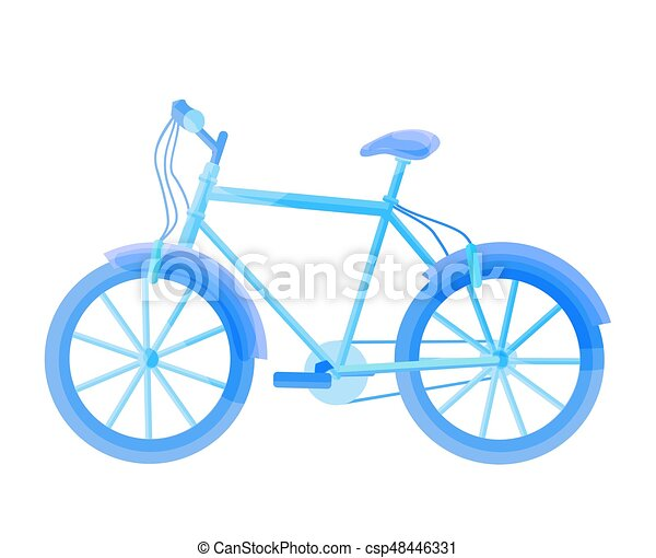 Blue bicycle isolated on white. Vector bike illustration. - csp48446331