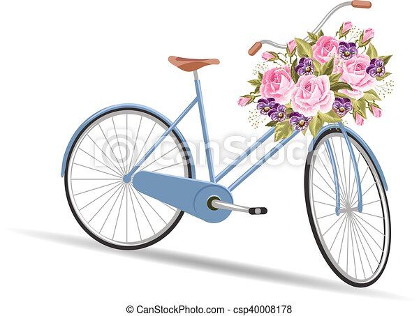 Blue bicycle with a basket full of flowers - csp40008178