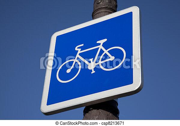 Blue Bike Sign on Lamppost - csp8213671