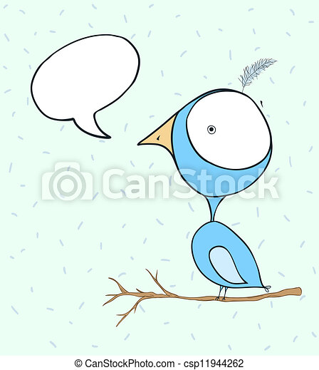 Blue bird doodle wallpaper with text bubble - csp11944262