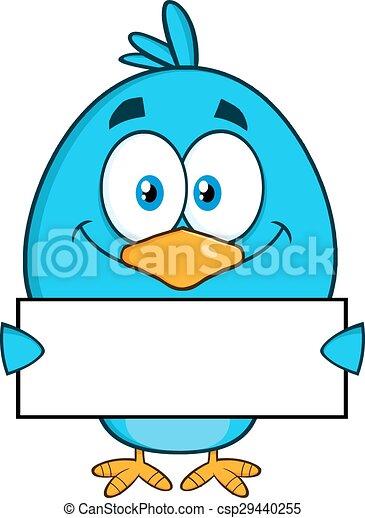 Blue Bird Holding A Blank Sign - csp29440255