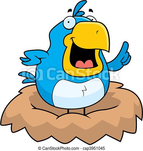 blue bird nest a happy cartoon blue bird in a nest rh canstockphoto com empty bird nest clipart bird nest fern clipart