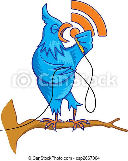 Blue bird on branch vector - csp2667064