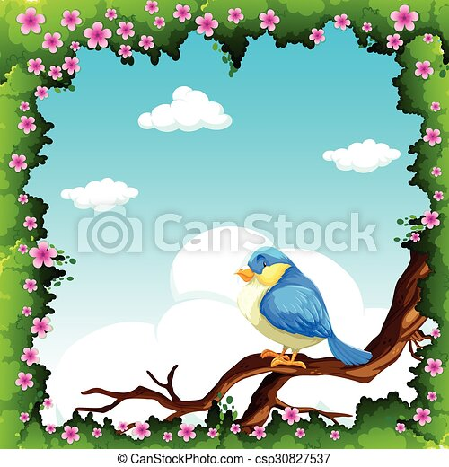 Blue bird on the branch - csp30827537