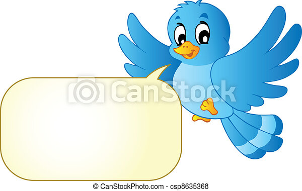 Blue bird with comics bubble - csp8635368