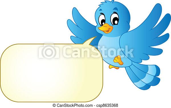 Blue bird with comics bubble - csp8635368