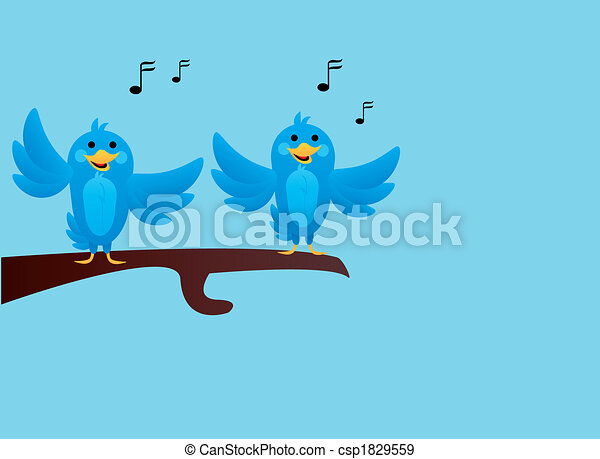 blue birds singing on branch  - csp1829559