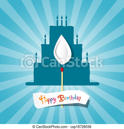 Blue Birthday Background Illustration with Cake Silhouette  - csp18726036