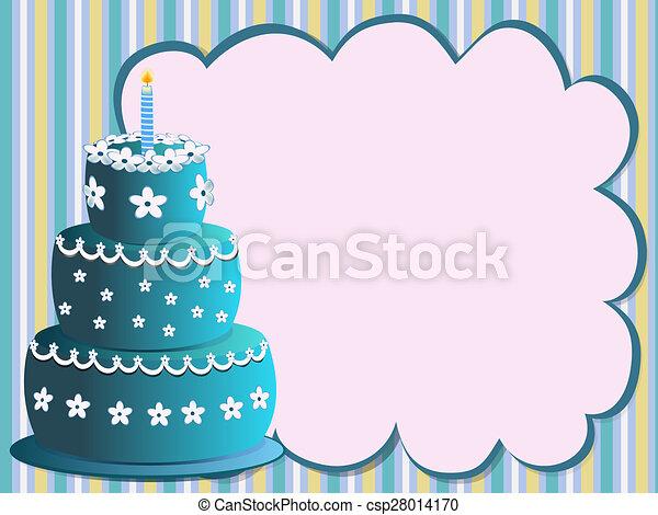 Blue Birthday Cake Happy With Flowers Illustration