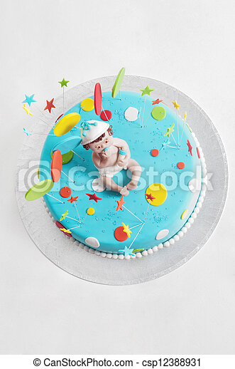 Blue birthday cake - top view - csp12388931