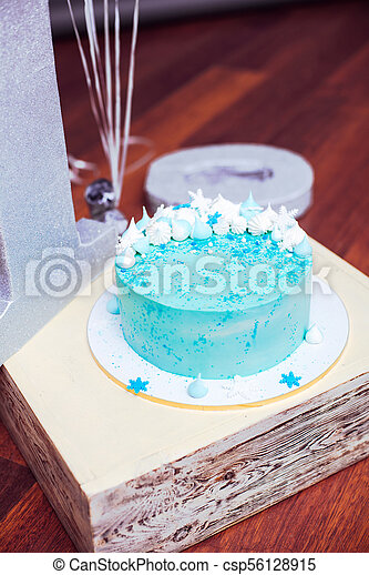 Incredible Blue Birthday Cake With Small Meringues And White Snowflakes Personalised Birthday Cards Arneslily Jamesorg