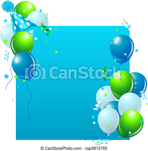 Clipart Vector of Blue Birthday card Blue birthday card with – Blue Birthday Cards
