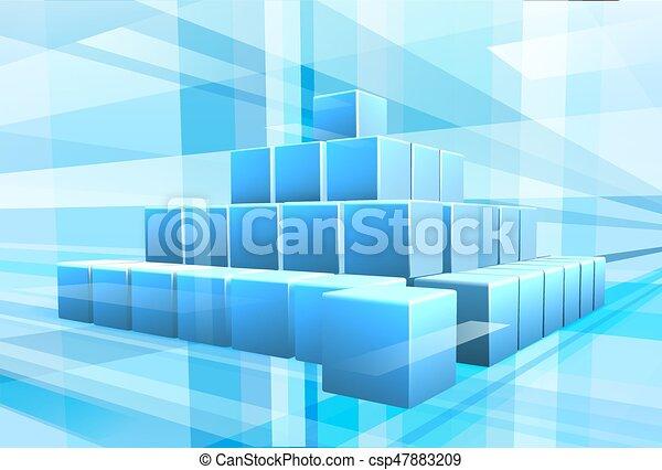 Blue Blocks Business Background - csp47883209