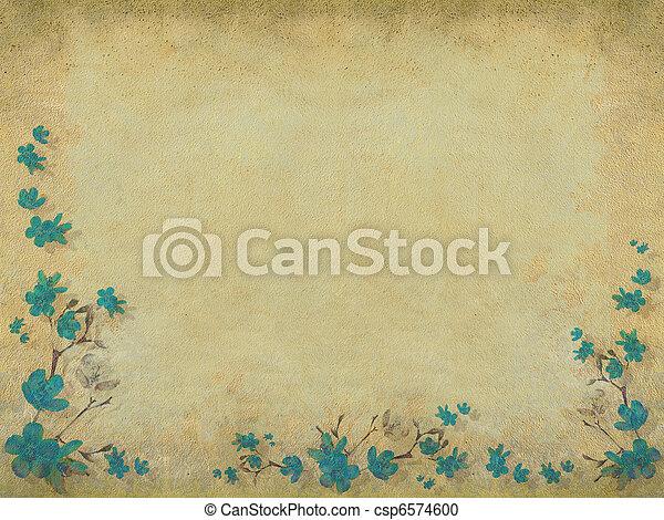 Blue blossom flower half border  - csp6574600