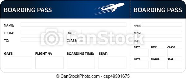 Blue Boarding Pass Airplane Boarding Pass Blue Ticket Isolated On