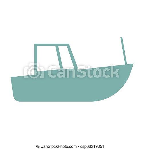 Blue boat flat illustration - csp68219851
