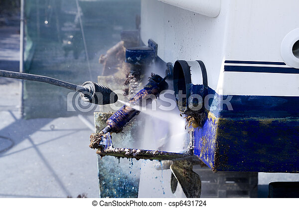 blue boat hull cleaning pressure washer barnacles - csp6431724