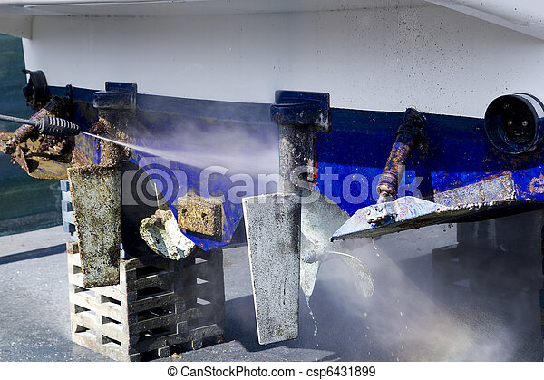 blue boat hull cleaning pressure washer barnacles - csp6431899