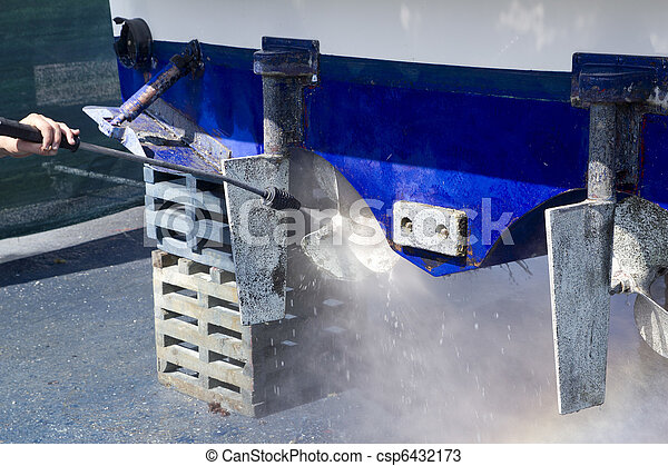 blue boat hull cleaning pressure washer barnacles - csp6432173