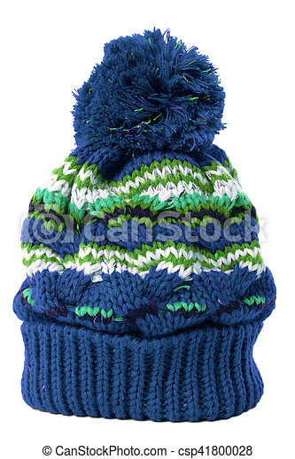 5b8c8754755 Blue bobble hat or knit hat isolated against a white background.