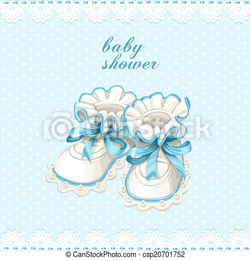 Blue booties baby shower card - csp20701752
