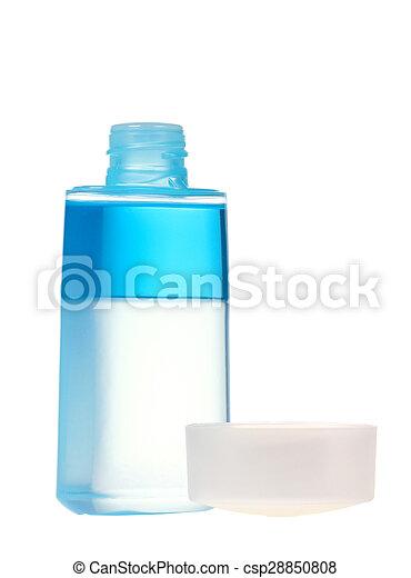 Blue bottle cosmetic isolated on white background - csp28850808