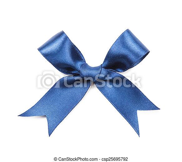 Blue bow isolated on white background - csp25695792