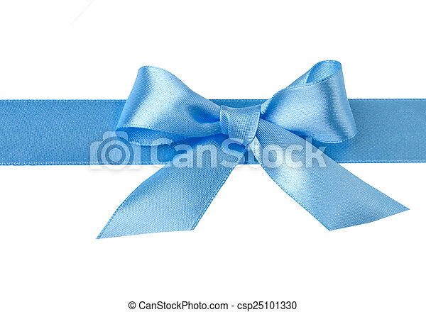 Blue bow isolated on white background - csp25101330