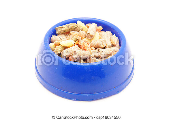 blue bowl of food on white background - csp16034550