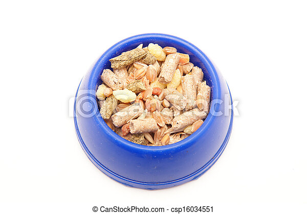 blue bowl of food on white background - csp16034551