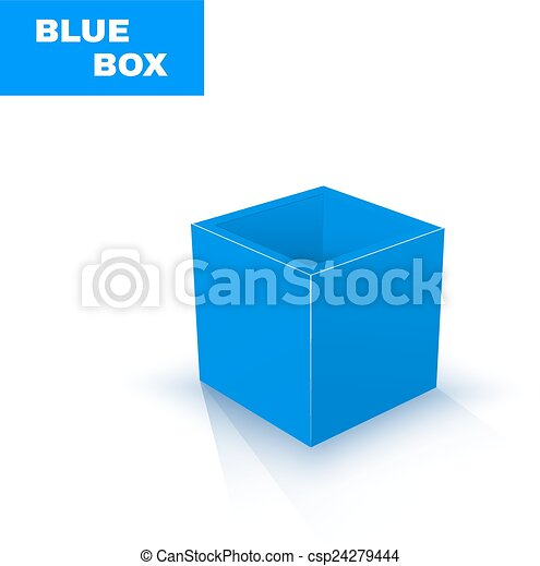 Blue Box isolated on white - csp24279444