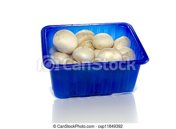 blue box with mushrooms - csp11849392