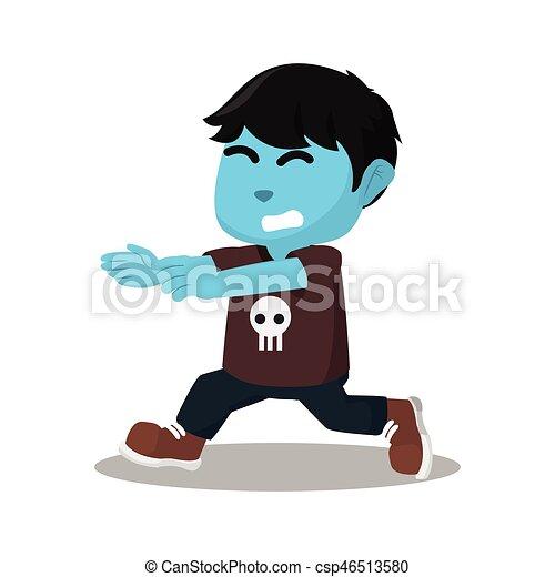 blue boy running - csp46513580