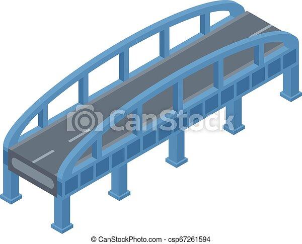 Blue bridge icon, isometric style - csp67261594